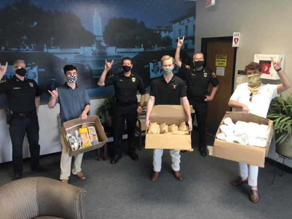 Pikes deliver Bert's BBQ lunch to the men and women of the UT Austin Police Department to show appreciation of their service during the Coronavirus pandemic.