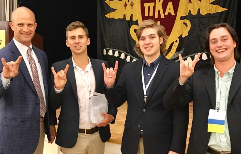 Pike International CEO Justin Buck greeted the Beta Mu delegation of Zack Wagner, Angus Brooks and Matthew Stewart at The Academy.