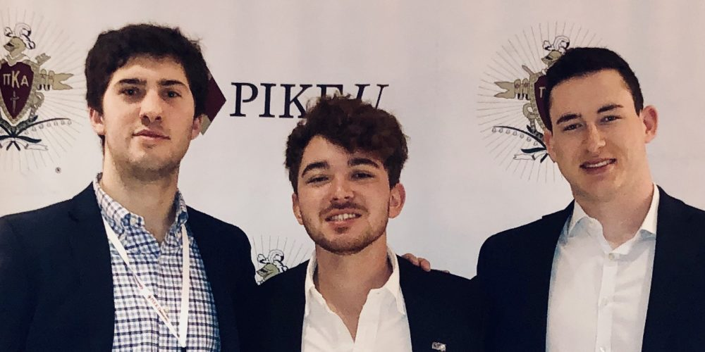 Tommy Waun, Connor Laird and Austin Spingarn at Pike's 2020 Chapter Leadership Conference in Memphis.