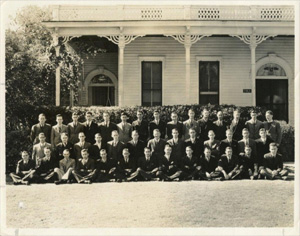 Beta Mu Members in 1934 at the Chapter House, 2504 Rio Grande.