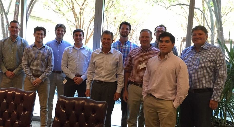 Keith Maxwell '84 (right) hosted the Energy Sector Career Advisory Session at his West Houston offices on August 12.