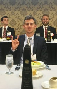 SMC Zack Wagner at the recognition luncheon accepting Beta Mu's Orians Excellence Award.