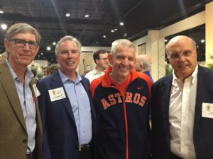 "Tom Peel '73, Kent Woodard '69, Jim ""Mattress Mack"" Mcingvale '70 and Randy Stout '70 enjoyed the Houston 150th Founders Day reception in March 2018."