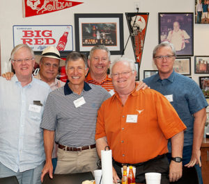 1970s-era brothers Barclay, Gump, Hinson, Lucas, Rathmell and Stout enjoyed Bert's BBQ before the June 1 Farewell to the House reception in Austin.