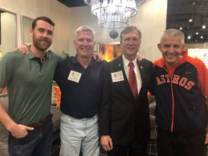 (l-r) Matt Phelan '09, Beta Mu Chapter Advisor Doug Phelan '65, Congressman Brian Babin '68 and Mack McIngvale '70  enjoyed the Houston Beta Mu 150 Founders Days.