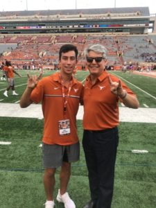 Cole Martinez with UT President Greg Fenves